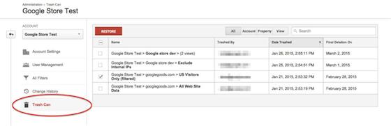 Cestino di Google Analytics 01