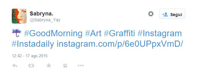 immagine di un tweet dove il post di Instagram viene pubblicato soltanto come link