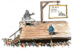 un disegno dove un uomo sul patibolo si trova di fronte ad un boia che gli mostra una presentazione